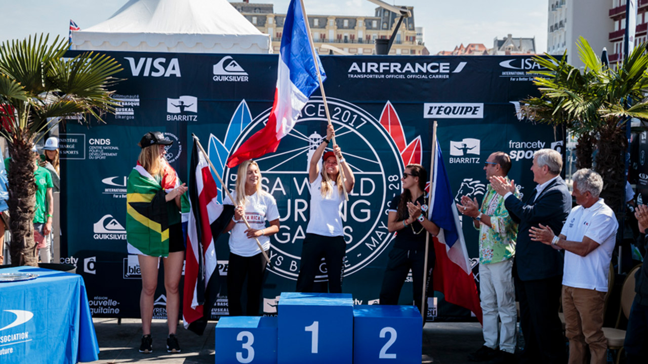 8ee50d3501 And becomes the first Gold Medalist in the Olympic Cycle for surfing.  Pauline Ado (FR) has just won the Gold Medal at the 2017 ISA World Surfing  Games.